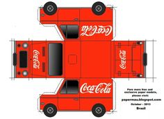 Coca-Cola Van Paper Model - by Papermau Paper Car, Paper Toys, Cola Truck, Aluminum Can Crafts, Soda Can Crafts, Paper Houses, Printable Paper, Paper Cutting, Google Docs