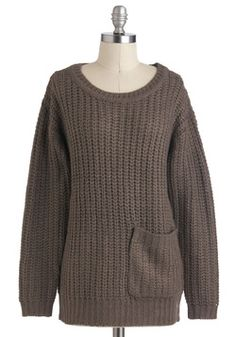 Perfect with leggings and grey boots! Apple Butter Breakfast Sweater in Fog, #ModCloth