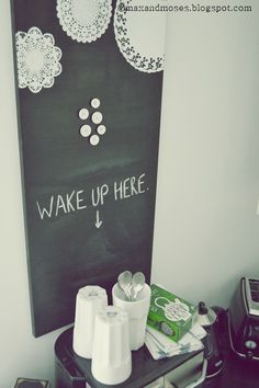 Max & Moses - the blog: Coffee station & DIY magnetic chalkboard / Kahvipiste & DIY magneettiliitutaulu