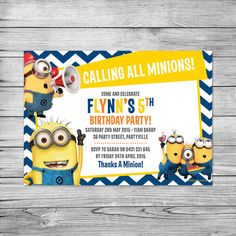 Hey, I found this really awesome Etsy listing at https://www.etsy.com/listing/233000040/the-minions-invite-minions-birthday