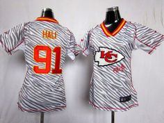 Nike Chiefs #91 Tamba Hali  Zebra Women's Stitched NFL Elite Jerseys 5006