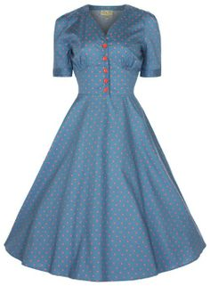 Amazon.com: Lindy Bop 'Ionia' Vintage 1950's Rockabilly Pinup Flared Tea Dress (XS, Sea Blue): Clothing