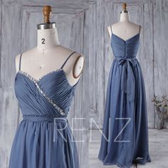 2016 Steel Blue Chiffon Bridesmaid Dress with Beading, Spaghetti Straps Wedding Dress, Long Party Dress, Prom Dress Floor Length (H249)