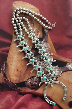 Vintage Navajo Turquoise Box Bow NECKLACE Sterling Silver Native American by iCollectSouthwest, $489.00