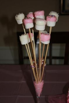 Dipped marshmallows. we could totally make these in whatever wedding colors you decide on