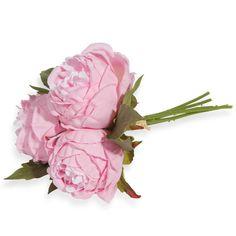 Bouquet fleurs artificielles pivoines roses