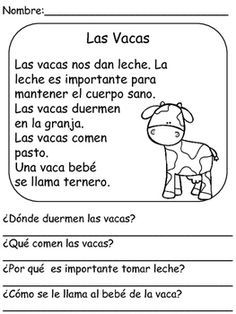 On The Farm- Reading Comprehension In Spanish by Bilingual Classroom Resources Spanish Worksheets, Spanish Teaching Resources, Spanish Activities, Spanish Language Learning, Learn A New Language, Reading Activities, Spanish Games, Free Worksheets, Dual Language Classroom