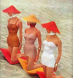 50's beach fashions - I like the scarf head wrap