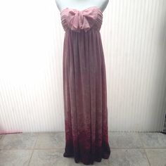 """NWOT Strapless Pink Silk Chiffon Maxi Small Stunning NWOT 100% Silk Chiffon Pink ombre strapless maxi. Tag fell off so I think it is a small. The waist measures 28"""" around, underarm measures 32"""" around and the length from top of dress is 50"""". Built in fabulous strapless bra. Dresses"""