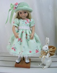 "Outfit-for-Dianna-Effner-Little-Darling-13""-Doll-by-Ulla-Berry-Bunny-Green"