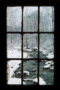 Look out on a winter day from inside a warm house