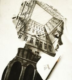Apartments. Black and White Double Exposure Drawings. By Patrick Antounian.