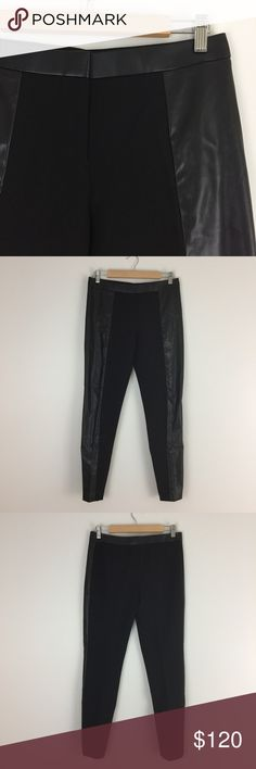 "NWT Tory Burch Black Mabley Pants Simple and sexy - ponte knit/faux leather - low rise - hook & eye/zipper closure - straight legs - zipper ankle openings - rayon/nylon/spandex - polyurethane - approx measurements lying flat: waist 15.5, inseam 29"" - NWT Tory Burch Pants Ankle & Cropped"