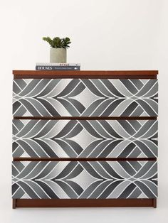 Find an inexpensive dresser with flat-front drawers at a thrift store or discount retailer, and spice it up with your favorite patterned wallpaper.