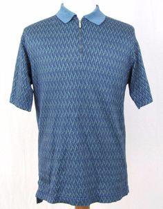 Jhane Barnes Sport Shirt Medium Golf Zipper Polo Blue Abstract Wave Frequency #JhaneBarnes #PoloRugby