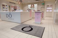 Personalised door mats supplied to Pandora stores, throughout the UK.  Non slip, washable, rubber backed mats.