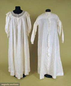 19th Century Nightgowns  One hand sewn and edged with ruffle and narrow bobbin lace, band neckline, full front carved shell button opening, sloping shoulders, long gathered sleeves with narrow button cuff, illegible printing at back collar band, (hole where one of fourteenfront buttons is missing) excellent; one partial nightgown with Valenciennes lace on rounded yoke, short sleeves.