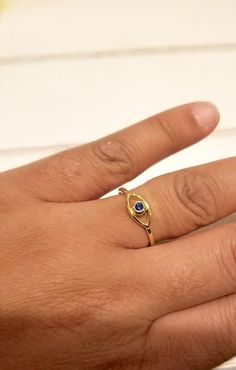 Large Silver Evil Eye ring with Sapphire CZ Eye Plain Sterling Silver - In Sterling Silver and Sterling Silver with Gold plating* Cute Jewelry, Jewelry Gifts, Jewelery, Evil Eye Ring, Evil Eye Jewelry, Small Rings, Beautiful Rings, Sapphire, Gold Plating