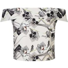 Miss Selfridge Orchid Print Bardot Top ($44) ❤ liked on Polyvore featuring tops, assorted, cream top, miss selfridge, print top, pattern tops and white top