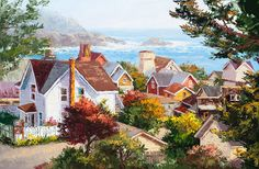 'Village Overlook' ~ 20 x 30 Original oil painting of the historic Village of Mendocino and its beautiful cottages; notice the water tower in the view. By artist Erin Dertner | This artwork is framed and available for sale $1950.