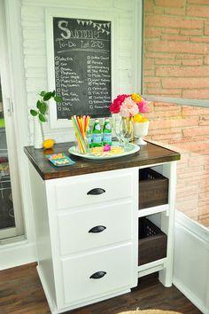 diy sun room cabinet. summer to do list chalkboard