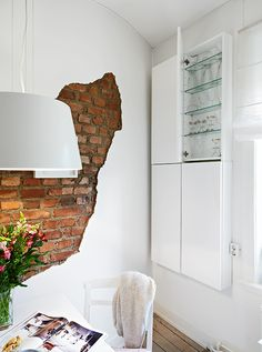 kitchen + brick + wall + white + apartment by Vintage & Chic I wonder if I could do this with contact paper without it looking too ridiculous. Brick Facade, Brick Wall, Wall Design, House Design, Lofts, Hygge, Decoracion Vintage Chic, White Apartment, Loft Studio