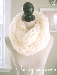 white scarf - arm knitting