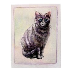 Sitting Cat Original watercolor painting 5.1x6.3 inch by deodea, $12.00