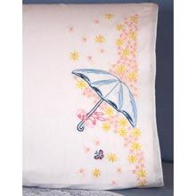 Parasol Pillowcase Pair Stamped Embroidery