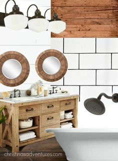 Farmhouse bathroom design - comprehensive guide to lighting, bathtubs, vanities, mirrors, accessories, and so much more! A must pin!