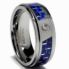8MM Men's Tungsten Carbide Ring W/ Blue Carbon Fiber Inlay