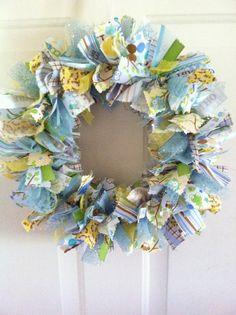 Baby Boy Rag Ribbon Wreath Baby Boy Wreath by RagWreathsbyMissVal, $48.00