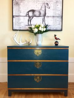 Custom Chalk Paint® color mix of mix of Amsterdam Green with Napoleonic Blue by Annie Sloan Stockist When Modern Was in San Francisco, CA.