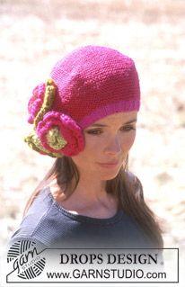 Bonnet Drops avec Fleurs au Crochet en Karisma et Eskimo ~ DROPS Design Knitting Patterns Free, Free Knitting, Free Pattern, Crochet Patterns, Crochet Woman, Knit Crochet, Crochet Hats, Drops Design, Drops Karisma