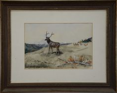 """CHARLES MARION RUSSELL (1864-1926)  Elk in the Rockies  watercolor/gouache on paper  signed lower left Chas. M. Russell Helena, MT 1887  monogrammed lower right with several letters  written on reverse: Purchased from the Cowboy Artist Chas. M. Russell at Helena, Montana May 12, 1887.  sight size: 9 1/2"""" x 13 3/4""""  Included Documentation: Original bill of sale from Western Arts & Crafts, Great Falls Montana  Original authenticity letter rom Frederic Renner, dated September 25, 1968"""