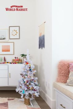 Thinking about how to decorate your childrens room for the holidays? Look no further! @Brandimilloy has you covered. #worldmarket #holidaydecor #kidsroom Holiday Looks, Holidays With Kids, Affordable Home Decor, Christmas Tree, Christmas Ornaments, Festival Decorations, Kidsroom, Room Decor, Spaces