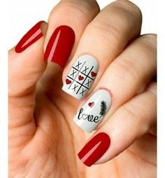 Valentine's Day nails; day nails red 65 Happy Valentines Day Nails For Your Romantic Day Heart Nail Designs, Valentine's Day Nail Designs, Acrylic Nail Designs, Acrylic Nails, Nails Design, Red Nail Art, Pink Nails, Cute Nails, Pretty Nails