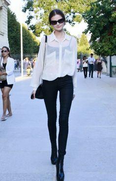 black skinny jeans/sheer white collar shirt