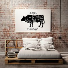 "Typography Art ""to Beef or Not To Beef"" Inspirational Print - Wall Decor - Wall Art - Love - Gift Idea - Funny Quotes"