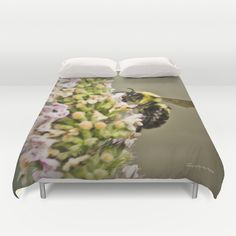 A Bumble Bee Working Duvet Cover by Photography By MsJudi - $99.00
