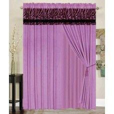 ZEBRA LAVENDER PINK CURTAIN MICRO FUR WINDOW PANEL DRAPES SET Zebra Curtains, Voile Curtains, Fabric Shower Curtains, Window Panels, Window Coverings, Zebra Print Bathroom, Daughters Room, Bathroom Kids, Curtain Sets