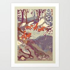 Fisher Fox Art Print by Teagan White   Society6