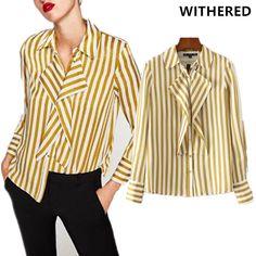 Withered 2017 new blusas women european kimono urban yellow striped cotton and Satin ruffles shirt blouse women tops plus size. Ruffle Shirt, Yellow Stripes, Shirt Blouses, Blouses For Women, Ruffles, Bell Sleeve Top, Satin, Plus Size, Urban