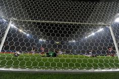 Behind the goal photo of Diego Forlan's shot crossing the line.