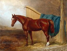 Antique Oil Painting Giclee Canvas Portrait of a Horse, 1859, H. MOORE (British, 19th Century)