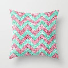 Chevron Pattern, pink & teal glitter photo print Throw Pillow