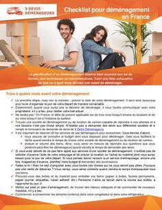 http://5devisdemenageurs.fr/ La planification d'un déménagement réserve bien souvent son lot de tâches, tant techniques qu'administratives. Voici une liste exhaustive de tout ce à quoi vous devriez voir avant de déménager.