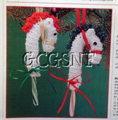 Crocheted candy cane covers make cute horse ornaments.