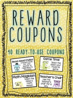 40 Ready-to-Use Reward Coupons - Hipster Monster Themed! Classroom Reward Coupons, Classroom Behavior Management, Class Dojo App, School Dojo, Dojo Points, Teaching Resources, Teaching Ideas, Becoming A Teacher