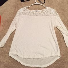 white, lace topped shirt lace design on top and shoulders. runs somewhat small. Aeropostale Tops